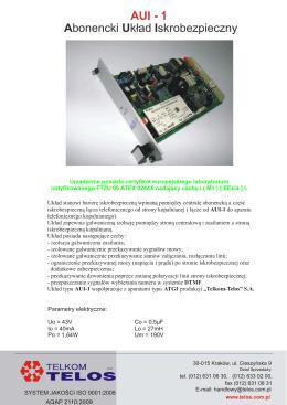Abonencki układ iskrobezpieczny AUI-1 - telkom