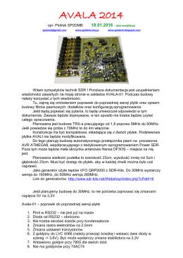Avala-01 – poprawki płytki - SP2DMB
