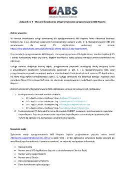 Warunki Świadczenia Usługi Serwisowej oprogramowania ABS