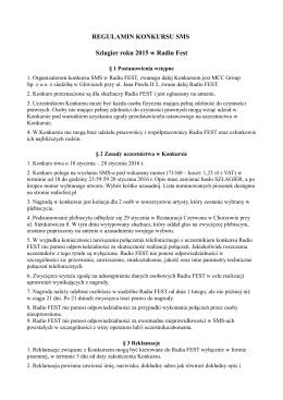 REGULAMIN KONKURSU SMS Szlagier roku 2015 w