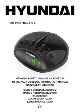 rac 213 g / rac 213 b návod k použití / návod na použitie instrukcja