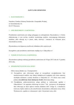 Zapytanie ofertowe - Narodowy Fundusz Ochrony Środowiska i