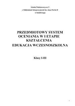 przedmiotowy system oceniania wi etapie kształcenia edukacja