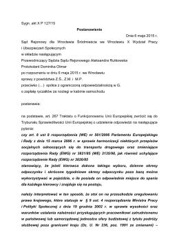 Sygn. akt X P 127/15 Postanowienie Dnia 6 maja 2015 r. Sąd