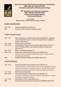 Ramowy Program XXVI Konferencji Naukowo