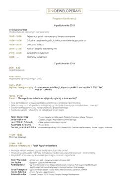 Program konferencji - Dni Dewelopera 2015