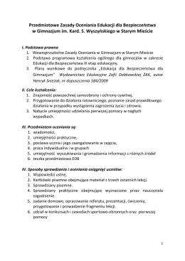 Przedmiotowe zasady oceniania z edukacji dla bezpieczeństwa