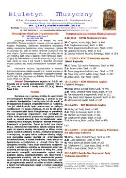 Biuletyn muzyczny - Diecezjalne Studium Organistowskie w Radomiu