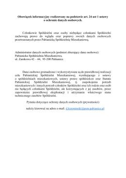 Obowiązek informacyjny realizowany na podstawie art. 24 ust 1