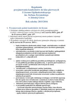 Regulamin przyjmowania kandydatów do klas pierwszych I Liceum