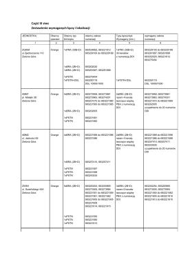 Część III siwz Zestawienie wymaganych łączy i lokalizacji