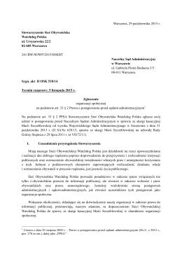 Treść przystąpienia Sieci Obywatelskiej Watchdog Polska do