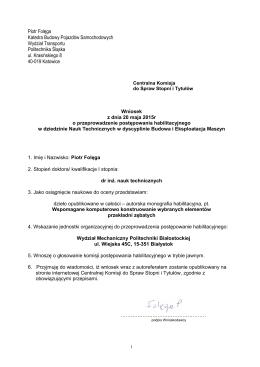 Piotr Folęga Katedra Budowy Pojazdów Samochodowych Wydział