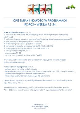 opis zmian i nowoŚCI W programie pc-pos wersja 7.3.54