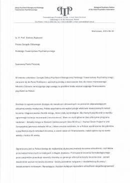 Warszawa, 2015-06-30 Sz. P. Prof. Andrzej Rajewski P rezes Tarzqdu