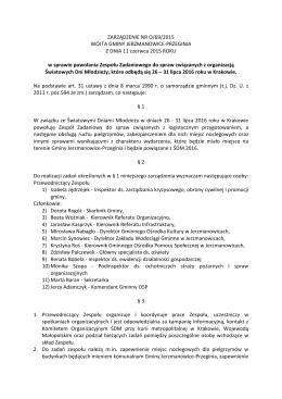 Zarządzenie - ŚDM 2016 - Gmina Jerzmanowice