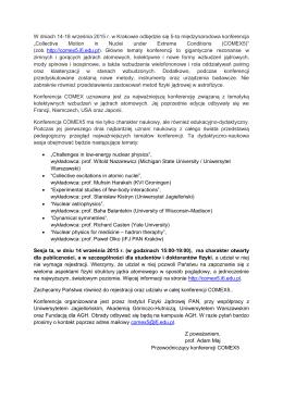 W dniach 14-18 września 2015 r. w Krakowie odbędzie się 5