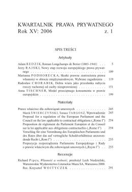 KWARTALNIK PRAWA PRYWATNEGO Rok XV: 2006 z. 1