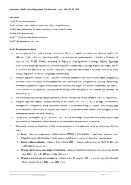 Regulamin świadczenia usług prepaid ComVision Sp. z
