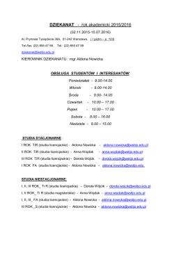 DZIEKANAT - rok akademicki 2015/2016
