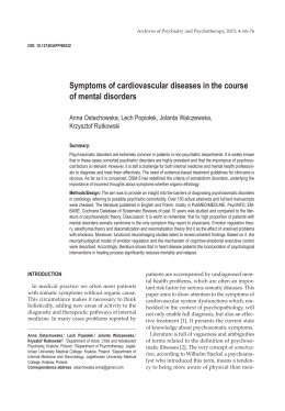 Symptoms of cardiovascular diseases in the course of mental
