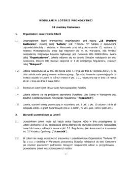 Regulamin Loterii 18 Urodziny Castoramy