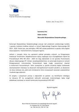 Szanowny Pan Adam Jarubas Marszałek Województwa