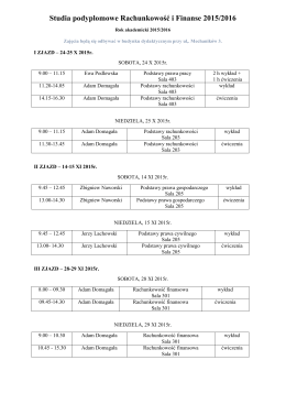 Plan zajęć semestr zimowy 2015/2016