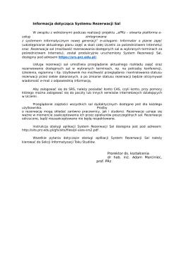 Informacja dotycząca Systemu Rezerwacji Sal Prorektor ds