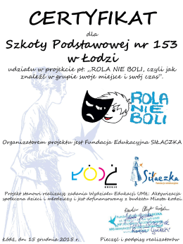Certyfikat SP153 - Szkoła Podstawowa nr 153 w Łodzi.