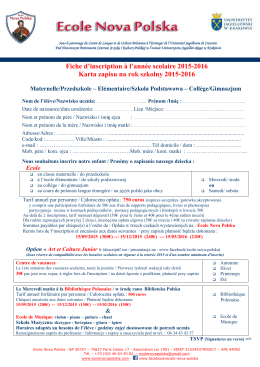 Fiche d`inscription