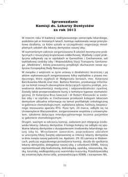 Sprawozdanie Komisji ds. Lekarzy Dentystów za rok 2012