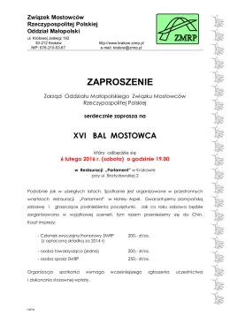 XVI Bal Mostowca - Związek Mostowców Rzeczypospolitej Polskiej