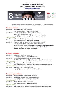 Program 8 Festiwalu Reżyserii Filmowej