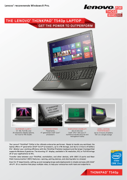 ThE LEnovo® ThinkPad® T540p LaPToP