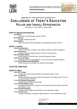 Agenda of International Conference - Adam Mickiewicz University in