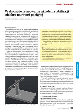 Wykonanie i sterowanie układem stabilizacji obiektu na równi pochyłej