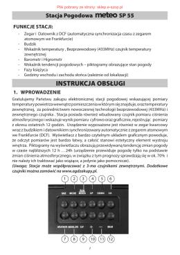 Instrukcja obsługi stacji pogody METEO SP-55 - Sklep e-SZOP