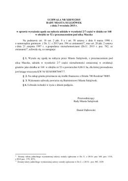 XIII/93/2015 w sprawie wyrażenia zgody na nabycie udziału w