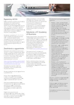 Egzaminy ACCA Zwolnienia z egzaminów Szkolenia z EY Academy