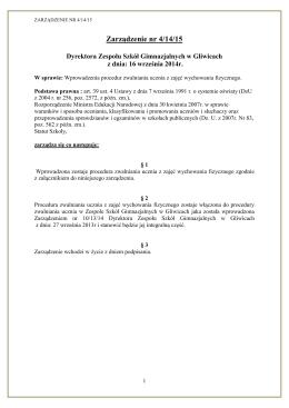 Zarządzenie nr 4/14/15 - BIP Zespół Szkół Gimnazjalnych w Gliwicach