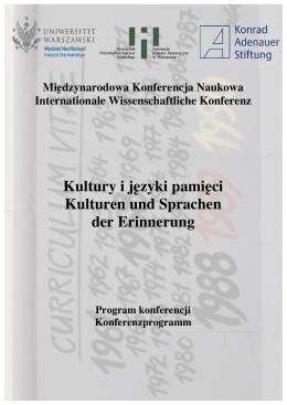 Kultury i języki pamięci Kulturen und Sprachen der Erinnerung