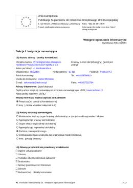 Wstępne ogłoszenie informacyjne - Budowa wiaty i placów wraz