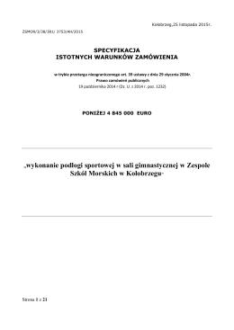 """""""wykonanie podłogi sportowej w sali gimnastycznej w Zespole Szkół"""