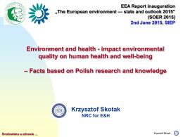 MONITORING JAKOŚCI WODY - Eionet Forum