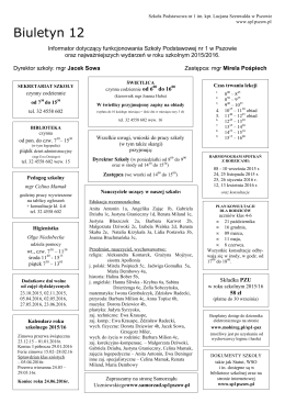 Biuletyn 12 - Szkoła Podstawowa nr 1 w Pszowie