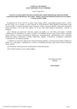 Uchwala Nr XII/88/15 z dnia 27 maja 2015 r.