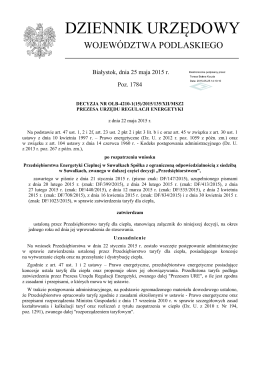 Taryfa od 1.07.2015r. - Przedsiębiorstwo Energetyki Cieplnej w