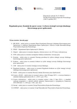 Regulamin pracy Komisji do spraw oceny i wyboru strategii rozwoju