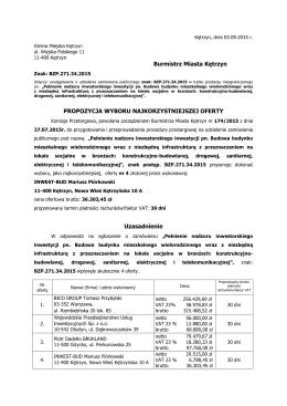 Propozycja wyboru najkorzystniejszej oferty - BZP.271.34